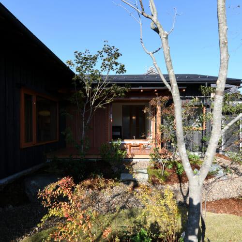 木製デッキ 焼杉 木製窓 外観 庭